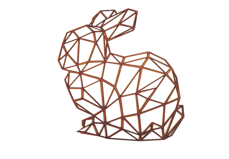 Conejo poligonal en mdf natural